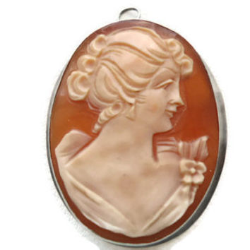 Vintage Sterling silver cameo shell brooch/pendant 925