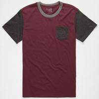 Blue Crown Tri Color Mens Pocket Tee Burgundy  In Sizes