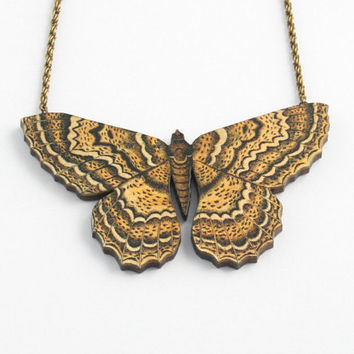 Beautiful large moth necklace with woven brass vintage look chain