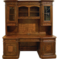 Solid Wood Carved Desk Credenza