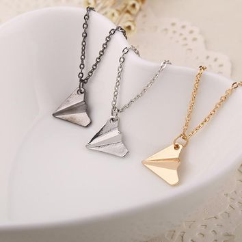 One Direction Origami Plane necklaces black Gold silver plated necklace Simple Paper tiny aircraft Airplane harry Styles jewelry