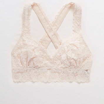 Aerie Lace Cross-Back Bralette, Cheeky Peach
