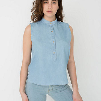 Sleeveless Mandarin Collar Shirt