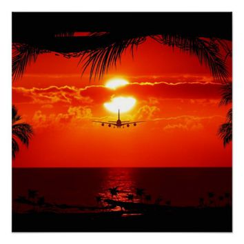 Sea Water Sunset Poster