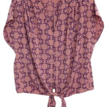 A.N.A. A New Approach Dusty Pink Womens Tie Waist Cap Sleeve V-neck Oversized Button Down Fox Print Animal Print Cropped Size Xl Top 51% off retail