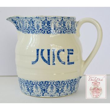 Vintage English Blue and White Transferware Pitcher Advertising Pitcher JUICE