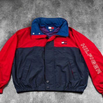 Tommy Hilfiger 90s Vintage Windbreaker Rare - Size XXL (Fits XL) - Jacket Fleece Puffer Tommy Jeans Ralph Lauren Helly Hansen Coach Guess