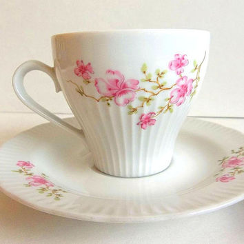 Vintage JLMenau teacup & saucer set East German GDR porcelain teacup pink floral flowers Cottage Shabby Tea Party pink and white