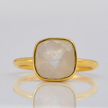 Faceted Rainbow Moonstone 24K Vermeil Gold ring - cushion square cut stacking bezel set ring - gemstone gold ring