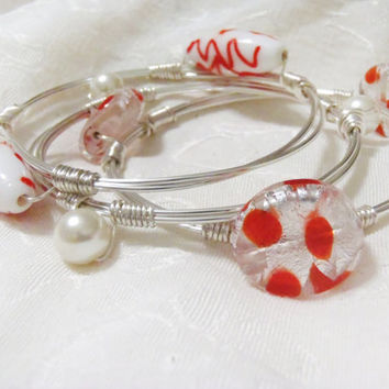 Orange, White and Metallic Silver Glass Lampwork Wire Wrap Bangle Set - 3 wire wrapped bracelets with lamp work beads and pearls