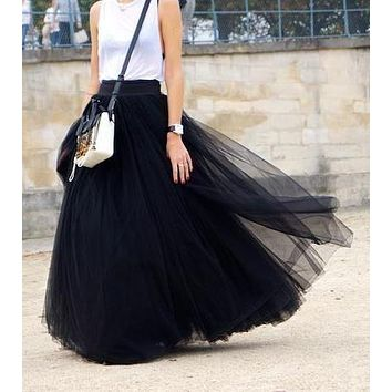 Tulle Tutu Long Skirts Womens 2017 Vintage High Waist Solid Saia Longa Faldas Floor-Length Mesh Maxi Plus Size 6XL 7XL Skirts