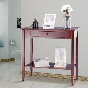 Giantex Console Table Classic 2 Tier Porch Table Lower Shelf Drawer Cherry Color Living Room Furniture HW57875