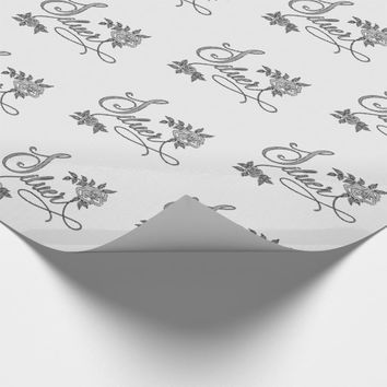 Silver Typography with Roses on White Linen Look Wrapping Paper