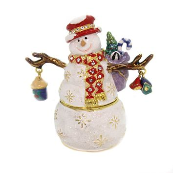Hinged Trinket Box SNOWMAN WITH RED HAT Metal Birdhouse Winter Crystals 3355