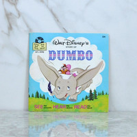 Vintage 1985 Walt Disney's Story Of Dumbo Book And Record 33 1/3 RPM Record Disneyland Records