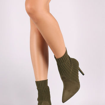 Qupid Sweater Knit Suede Pointy Toe Stiletto Booties | UrbanOG