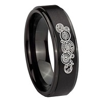 10mm Doctor Who Step Edges Brush Black Tungsten Carbide Mens Ring