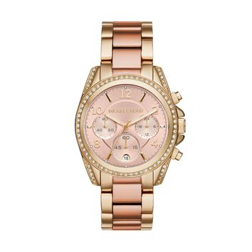 Michael Kors Blair Two-Tone Yellow and Rose Gold-Toned Stainless Steel Ladies Chronograph Watch