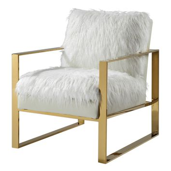 Delphine Contemporary White & Gold Accent Chair by Uttermost