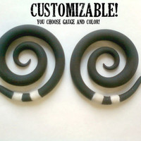 "Beetlejuice Polymer Clay Gauged Earrings 6g, 4g, 2g, 0g, 00g, 7/16"" 1/2"""