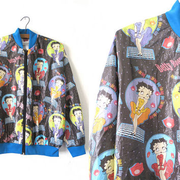 90s Betty Boop Tyvek Windbreaker - Deadstock Vintage Classic Comics Novelty Print Coated Paper Bomber Jacket - Mens size S