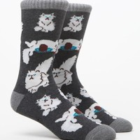 On The Byas Classy Cat Crew Socks - Mens Socks - Black - One