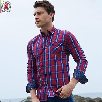 New Arrival Men's shirt Long Sleeve Plaid Shirts Men Dress Shirt Casual Denim Checks Shirts