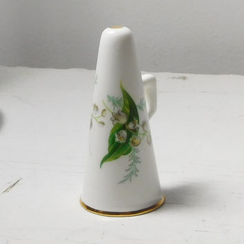 Fine Bone China Made in England Small Bull Horn Ornament Hammersley Vintage Painted Lilies of the Valley Gold Trim Small Floral Signed