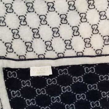 ONETOW Gucci baby GG pattern wool blanket used dark blue