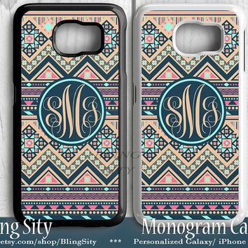 Navy Tan Aztec Galaxy S6 Edge S4 case Samsung S5 Case Note 2 3 4 Case S3 Personalized Monogram Mint Custom Tough Cover BlingSity