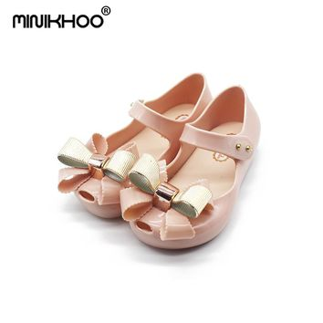 Mini Melissa 3 Color Bow Tie Girls Jelly Sandals 2018 New Girls Jelly Sandals Children Shoes Melissa Non-slip Girl Beach Sandals
