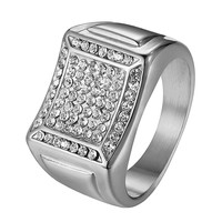 Stainless Steel Mens Wedding Engagement Ring Hip Hop Micro Pave Iced Out Pinky