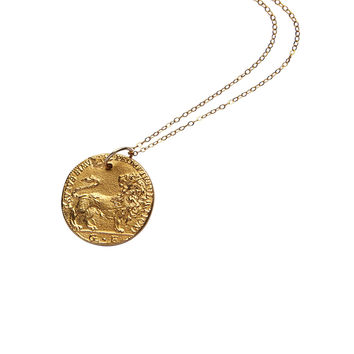 Alighieri Il Leone Necklace - Gold Plated Bronze Necklace
