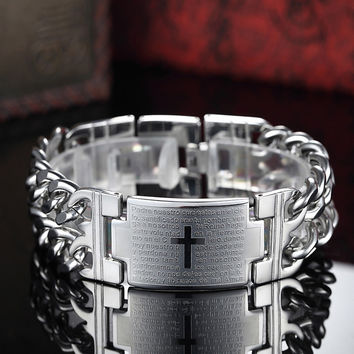 2017 New Men's Bracelets Trendy Spanish Bible Lord Prayer Jesus Cross Sign Bangles Titanium Steel Bracelet Fashion Jewelry