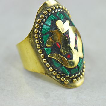 Om | Ohm Turquoise Coral Inlay Ring in Brass