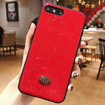 GUCCI Women Men Fashion New More Letter Personality Protective Case Phone Case Red