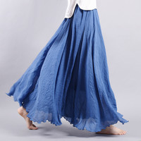 High Quality Double Layered Linen Maxi Skirt with Bright Pastel Colors