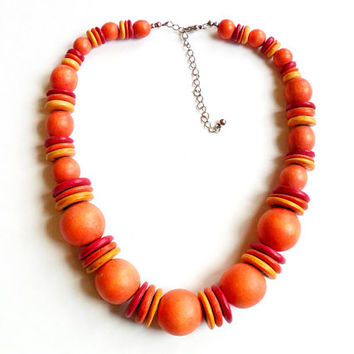 Vintage Wooden Bead Necklace - Orange Pink Yellow - Summer Bright Colors - Chunky Wood Boho - Adjustable Length - Festival Fashion