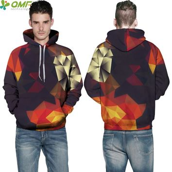 3D Abstract Geometric Triangles Men Sweatshirts Streetwear Skateboarding Hoodies Hooded Hoody Training Outdoor Pullovers Coat