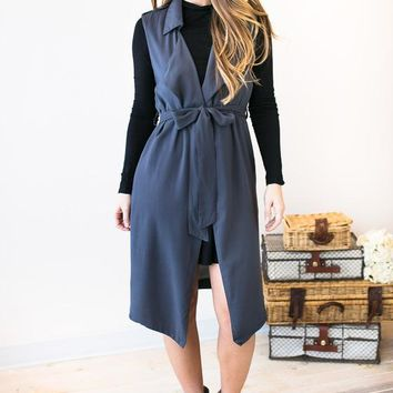 Invest Your Time Long Draped Trench Vest