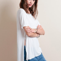 Mixed Emotions High-Low Tee In White