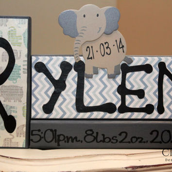 Personalized Baby Blocks with Name and Birth Stats/Announcement - Set of 3 Wood Blocks