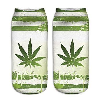 Wax Stripes Weed Leaf Ankle Socks