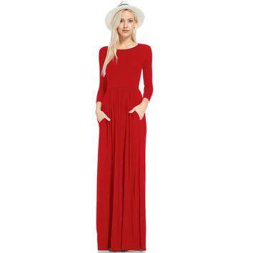 Elegant Casual Solid Long Dress for Women Spring O Neck Long Sleeve with Pocket Loose Fit and Flare Robe Maxi Dress Vestido 2018