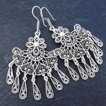 Fan Shaped Telkari Dangly Silver Ethnic Boho Earrings - Authentic Turkish Style