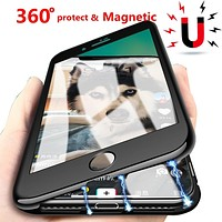 360 Magnetic Adsorption For iphone X XR 10 iphone XS Max 6s plus Coque Cover Phone Case For iphone 7 iphone 8 plus Cases Luxury