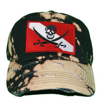 Vintage Culture Pirate Flag Patched Distressed Dad Hat In Bleach Black