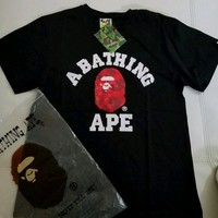 cc spbest A Bathing Ape College Tee Red Camo Black Shirt