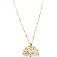 NECKLACE / TREE OF LIFE / CUTOUT METAL PENDANT / MATTE FINISH / LINK / CHAIN / 18 INCH LONG / 1 1/4 INCH DROP / NICKEL AND LEAD COMPLIANT