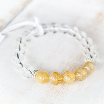 Clear quartz bracelet Natural citrine crystal bracelet Rock crystal beads Success Citrine jewelry Healing crystals and stones Mala bracelet